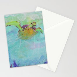 Painterly Sea Turtle Swimming in Turquoise water Stationery Cards