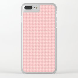 Blush Pink Two Tone Hounds Tooth Check Clear iPhone Case