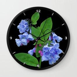 Spring Bluebells on black Wall Clock