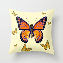 SPRING FLYING ORANGE MONARCH BUTTERFLIES ON CREAM Throw Pillow