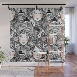 Fantails and Rabbits Ink Design Wall Mural