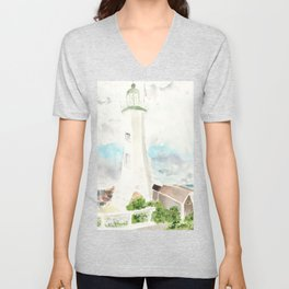 Morning at Scituate Lighthouse Unisex V-Neck