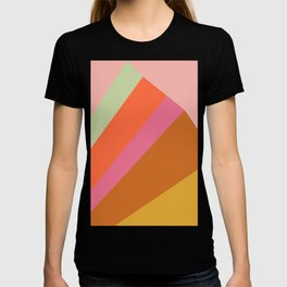 Retro Geometric Abstraction Mountain Landscape T-shirt
