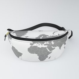 Minimalist World Map Gray on White Background Fanny Pack