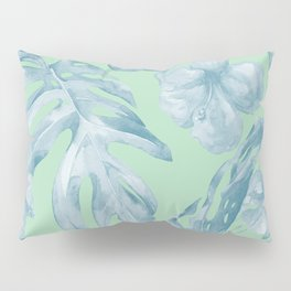 Tropical Leaves and Flowers Luxe Pastel Sea Turquoise Blue Green Pillow Sham
