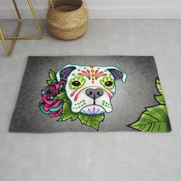 Boxer in White- Day of the Dead Sugar Skull Dog Rug