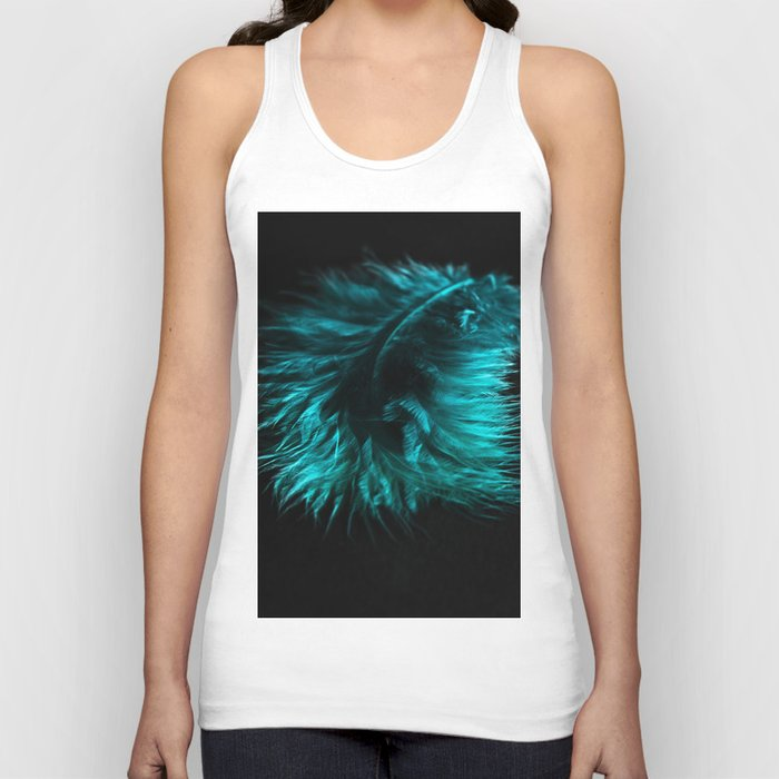 Feather in green-turquoise Unisex Tank Top