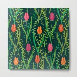 Entangled Tulips on Inky Blue (pattern) Metal Print