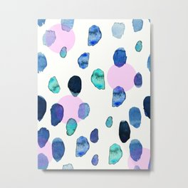Blue and Green Watercolor Brush Stroke with Purple circles Design by #MahsaWatercolor Metal Print