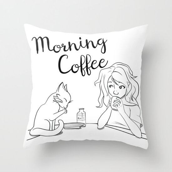 Cats and Coffee Throw Pillow