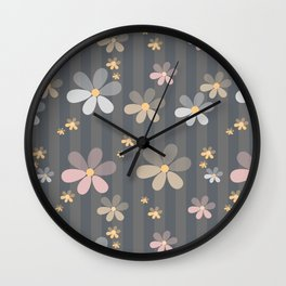Pink blue flowers on gray background . Wall Clock