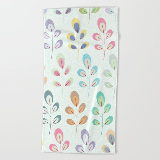 Colorful Leaves III Beach Towel