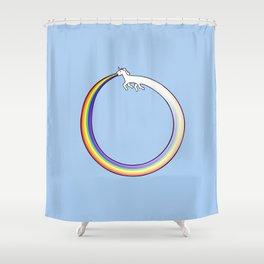 Ouroboros Unicorn Rainbow Vomit Shower Curtain
