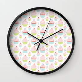 Pastel Cupcakes Food Vector Pattern Wall Clock