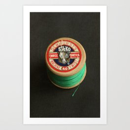 Green Vintage Cotton Reel Art Print