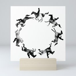 Showjumping Horse Sequence (Black) Mini Art Print