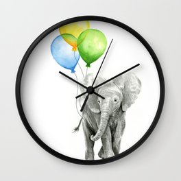 Elephant Watercolor Baby Animal with Balloons Blue Yellow Green Wall Clock
