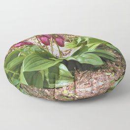 Woods of Cape Cod Wild New England Lady Slippers Floor Pillow