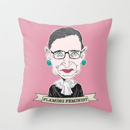 Ruth Bader Ginsburg The Notorious RBG Flaming Feminist Throw Pillow