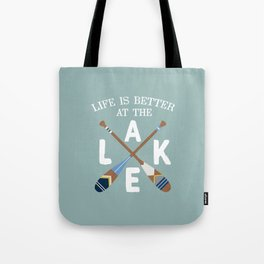 Life Is Better At The LAKE Painted Paddles Tote Bag