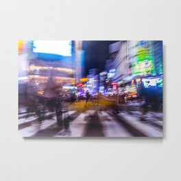 Blurred motion at Shibuyacrossing Metal Print
