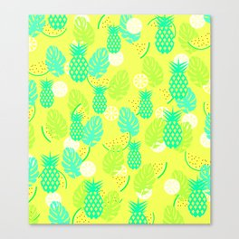 Watermelons and pineapples in yellow Canvas Print