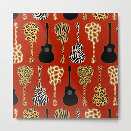Jazz It Up  Stacked Guitars Red Metal Print