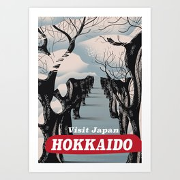 Hokkaido Japanese vintage style travel poster Art Print