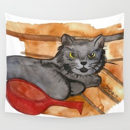Cat in the Sauna Wall Tapestry