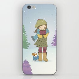 Girl and Dog in Snow iPhone Skin