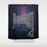 finland Shower Curtains featuring Winter river in Lapland Finland  by Guna Andersone & Mario Raats - G&M Studi