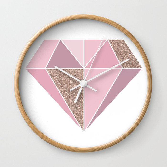 Shades Of Rose Gold Diamond Wall Clock