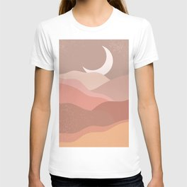 Minimalist Minimal Mountain Landscapes Colour Block Moon Pastel Neutral Colours Midcentury Modern Cool Magical Mystical Abstract Art Bohemian Boho Style Trendy  T-shirt