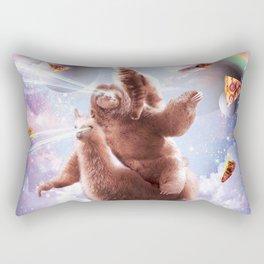 Laser Eyes Space Cat Riding Sloth, Llama - Rainbow Rectangular Pillow