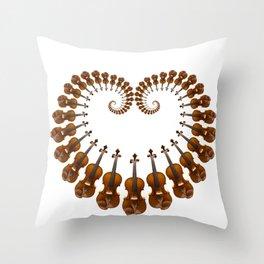 Violin heart spiral Throw Pillow