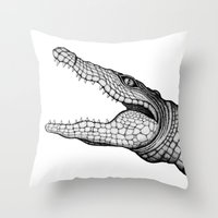 crocodile Throw Pillows featuring Crocodile by Hannighan