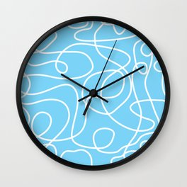 Doodle Line Art | White Lines on Sky Blue Wall Clock