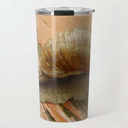 Snail crawling the green grass in garden Travel Mug