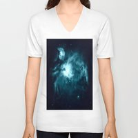 nebula V-neck T-shirts featuring Orion nebula : Teal Galaxy by 2sweet4words Designs