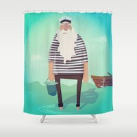 captain silva Shower Curtains featuring My Captain by General Design Studio