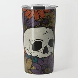 Skull And Fall Flowers Travel Mug