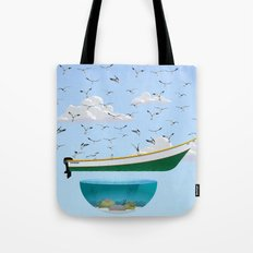 Boat and Birds Tote Bag