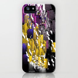 Decorative Abstract in Purple, Blue, Black, Yellow, and White iPhone Case