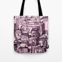 cartoons Tote Bags featuring Saturday Morning Cartoons 2: TV Print by Kayleigh Morin