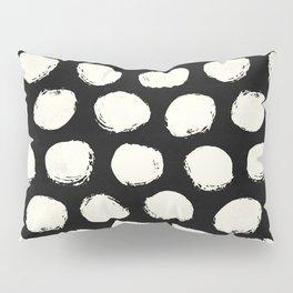 Trendy Cream Polka Dots on Black Pillow Sham