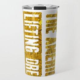The American Lifting Dream WeightLifting Apparel Gold Travel Mug