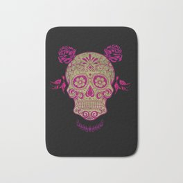 Sugar Skull Green and Pink Bath Mat
