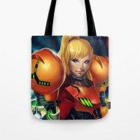 samus Tote Bags featuring Samus by PooZ