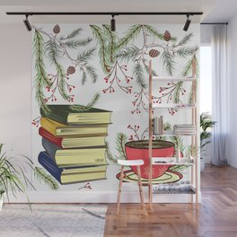 Winter Books and Tea Wall Mural