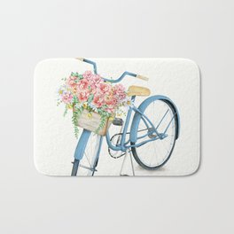 Blue Bicycle with Flowers in Basket Bath Mat
